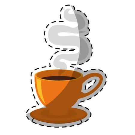 Orange small cup with steam design icon, vector illustration