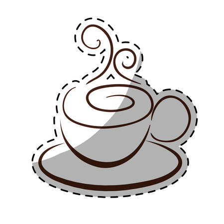 Figure small cup with steam and saucer, vector illustration