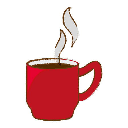 Color coffee cuppa with steam design, vector illustration Illustration