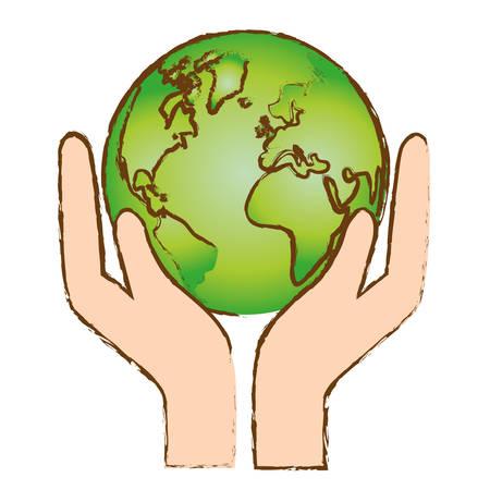 Icono de conservación de naturaleza de mundo de color, ilustración vectorial Foto de archivo - 70283478