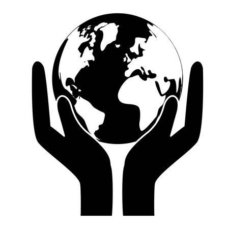 conservancy: Black world nature conservancy icon, vector illustration