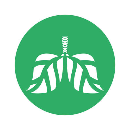 Figure lungs branches with leaves image, vector illustration Illustration