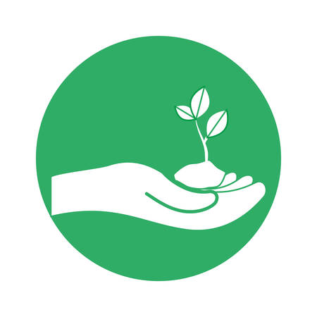 conservancy: Figure plants conservancy with hands image, vector illustration Illustration