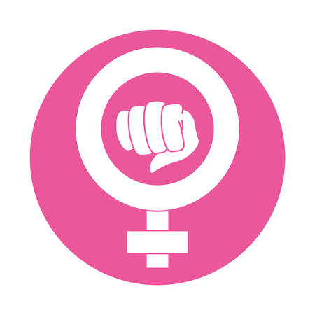 bisexual women: fist feminism related icons image vector illustration design