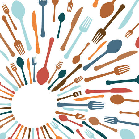 tablespoon: assorted cutlery icons emblem  image vector illustration design