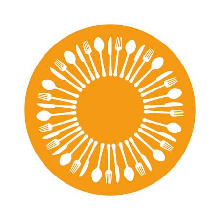assorted cutlery emblem image vector illustration design