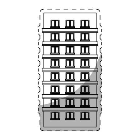 도시 건물 아이콘 이미지 라인 스티커 벡터 일러스트 디자인