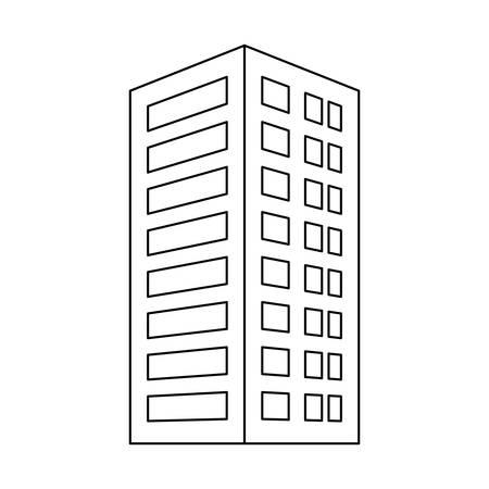 도시 건물 아이콘 이미지 간단한 검은 선 벡터 일러스트 레이 션 디자인