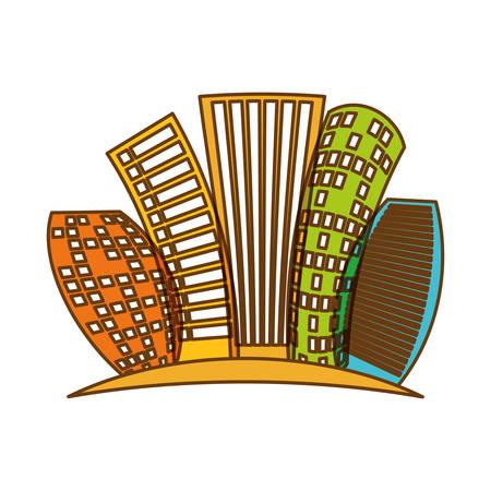 abstract artistic monochrome city building icon image vector illustration design