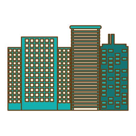 단색 도시 건물 아이콘 이미지 벡터 일러스트 디자인