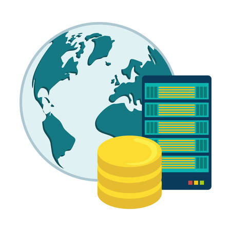 web hosting or data center related icons image vector illustration design