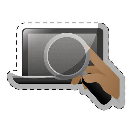 frontview: magnifying glass examining computer frontview icon image vector illustration design