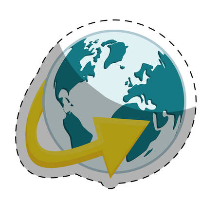 planet earth with surrounding arrow international icon image vector illustration design