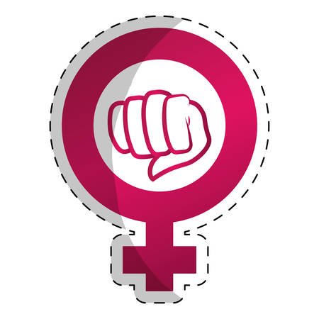 girl fist: Fucsia symbol to fight for rights of women, vector illustration