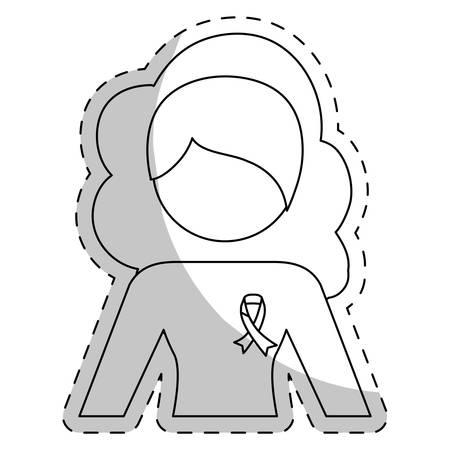feminist: Contour woman feminist defense icon image, vector illustration