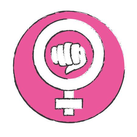girl fist: emblem symbol to fight for rights of women, vector illustration Illustration