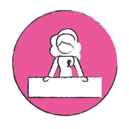 feminist: emblem woman feminist defending image, vector illustration design