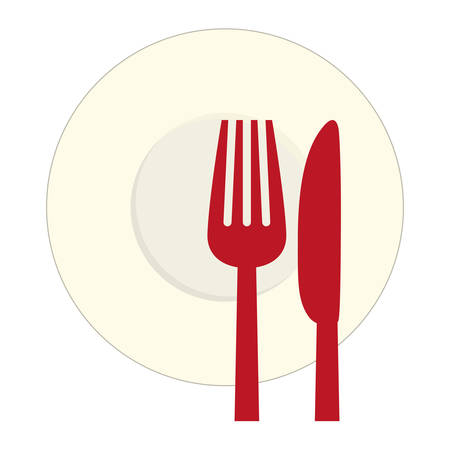 flatwares: Red knife, fork and plate icon image, vector illustration