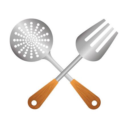 silver skimmer with big fork tools, vector illustration