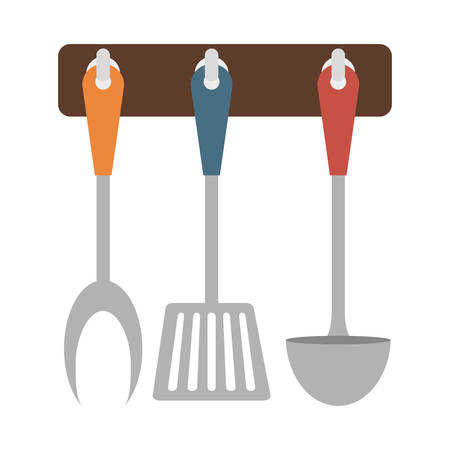 Brown rack utensils kitchen icon image, vector illustration