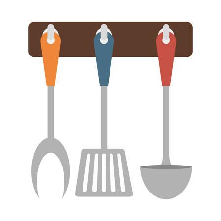 Immagine dell'icona della cucina degli utensili dello scaffale di Brown, illustrazione di vettore Archivio Fotografico - 70387980