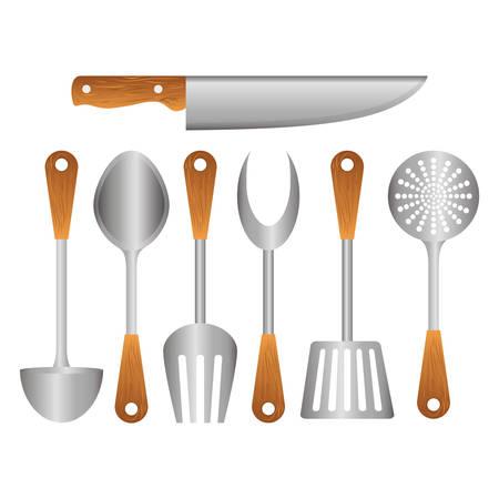 Silver kitchen tools icon image, vector illustration Illustration
