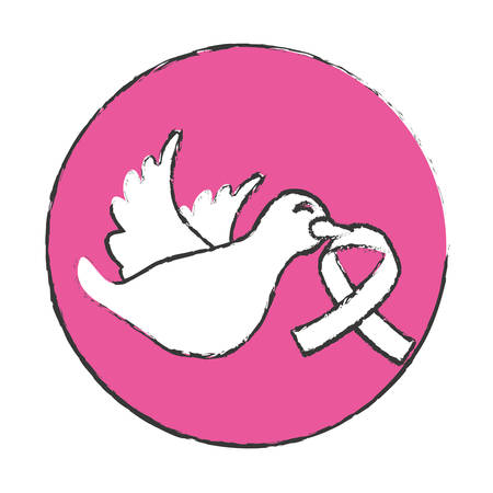 Emblem Dove With Breast Cancer Symbol In The Beak Icon Design