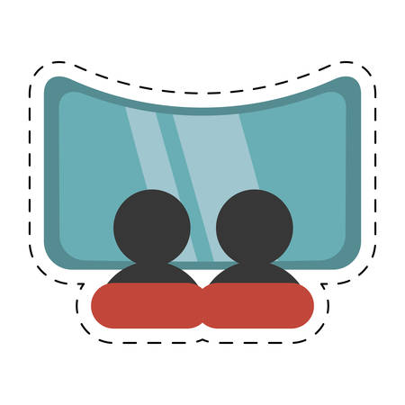 character movie cinema screen cut line vector illustration eps 10