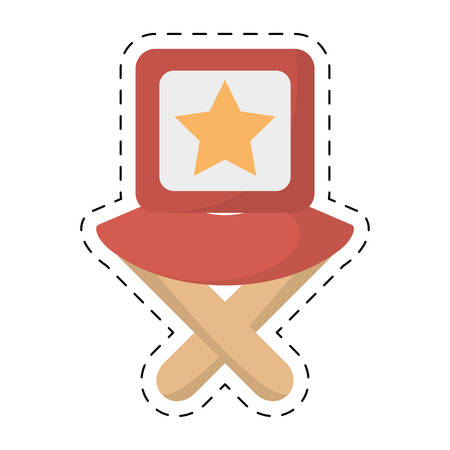 famous actor: director chair star movie film cut line vector illustration eps 10