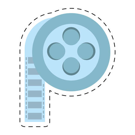 film reel cinema video tape cut line vector illustration eps 10 Illustration
