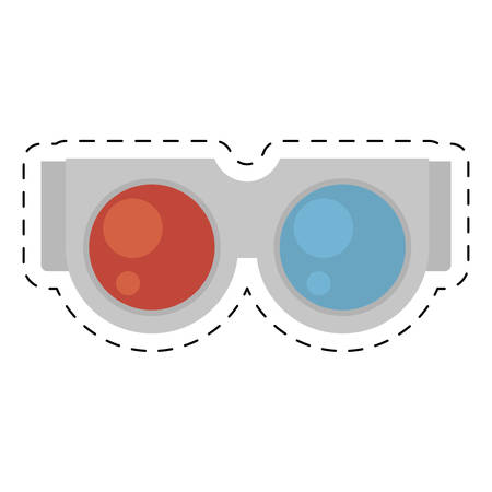 glasses 3d cinema accessory cut line vector illustration eps 10