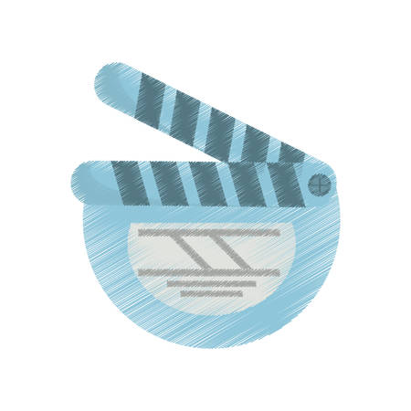palmtop: drawing movie clapper board cinema round vector illustration eps 10 Illustration