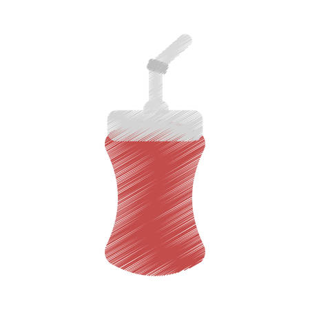 plastic straw: drawing plastic cup soda straw cinema vector illustration eps 10