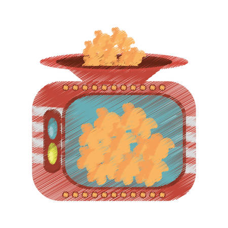 drawing popcorn machine fast food movie vector illustration eps 10