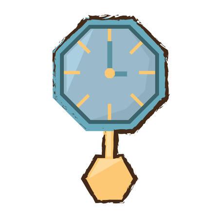reloj de pendulo: watch clock time pendulum color sketch vector illustration eps 10