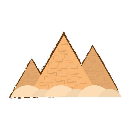 travel egyptian pyramids desert color sketch vector illustration eps 10