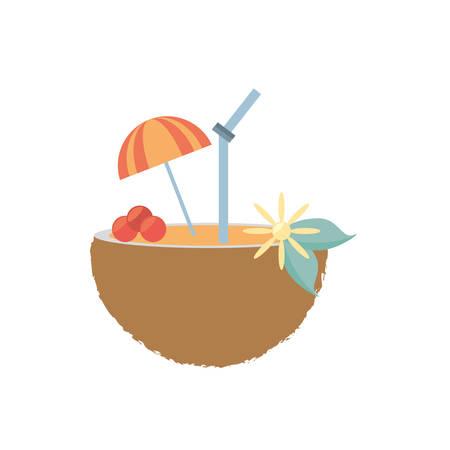 coconut cocktail umbrella straw drink refreshment vector illustration eps 10 Illustration