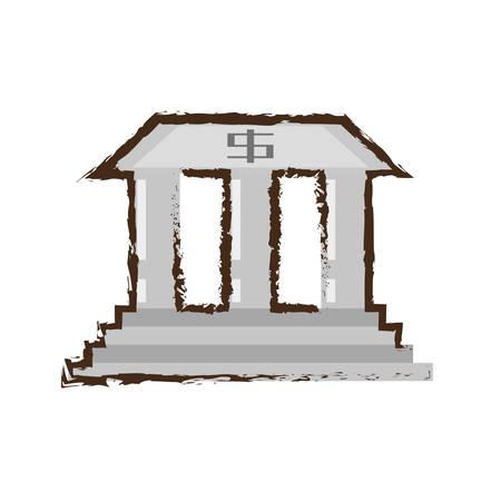 building sketch: building bank investment dollar color sketch vector illustration eps 10