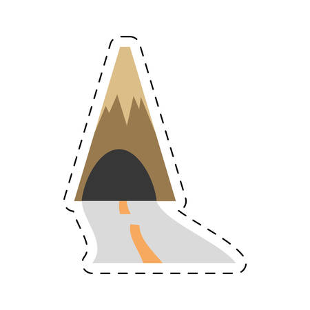 mountain with tunnel road travel cut line vector illustration eps 10
