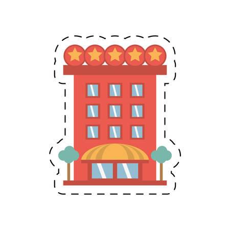 hospedaje: building hotel lodging stars cut line vector illustration eps 10 Vectores
