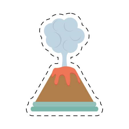 volcan eruption lava mountain cloud cut line vector illustration eps 10