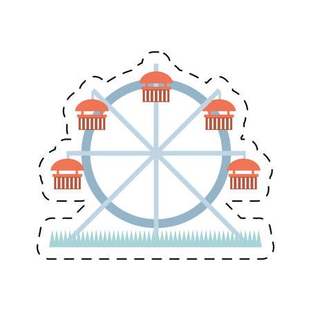 london night: london ferris wheel attraction entertainment cut line vector illustration eps 10 Illustration