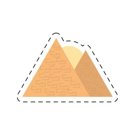 travel egyptian pyramids desert giza cut line vector illustration eps 10
