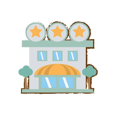 hospedaje: hotel de alojamiento estrellas boceto a color ilustración vectorial eps 10 edificio