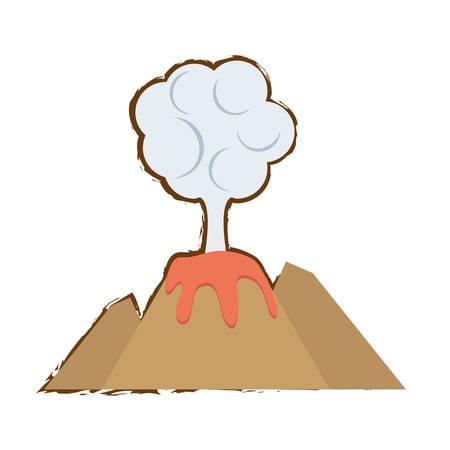 Volcan éruption de lave montagne nuage couleur vecteur croquis illustration eps 10 Banque d'images - 70388261
