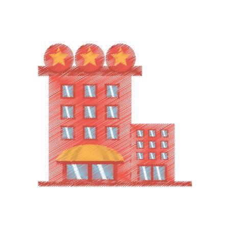 hospedaje: drawing building hotel lodging stars vector illustration eps 10 Vectores