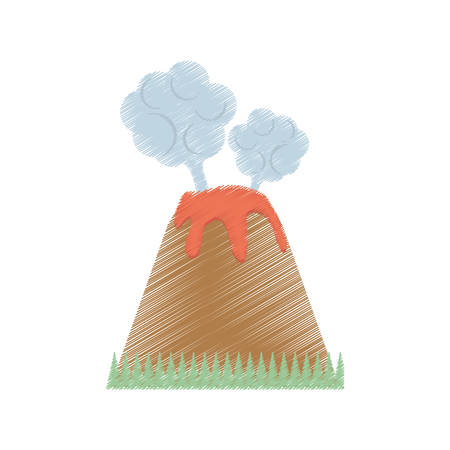 Dessin volcan éruption de lave montagne nuage illustration vectorielle eps 10 Banque d'images - 70388281