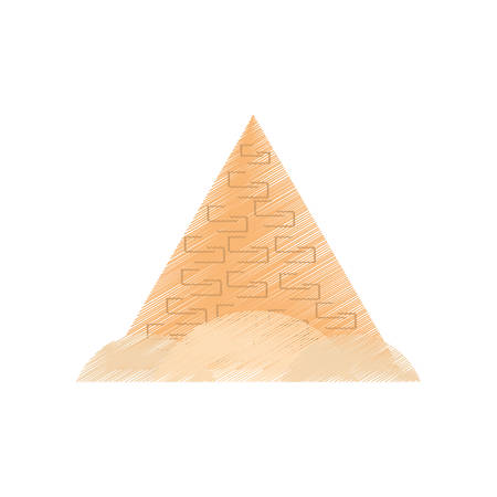 egyptian pyramids: drawing travel egyptian pyramids desert vector illustration eps 10