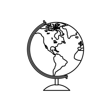 globe terrestre dessin: École icône globe terrestre illustration vectorielle de conception graphique Illustration