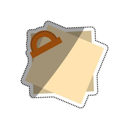 millimeters: Protractor angle meter icon vector illustration graphic design